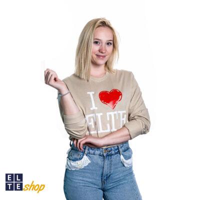 Hosszú ujjú póló I Love ELTE bézs- s